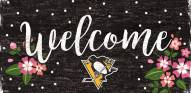 """Pittsburgh Penguins 6"""" x 12"""" Floral Welcome Sign"""