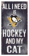 """Pittsburgh Penguins 6"""" x 12"""" Hockey & My Cat Sign"""