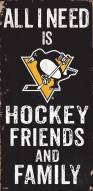 """Pittsburgh Penguins 6"""" x 12"""" Friends & Family Sign"""