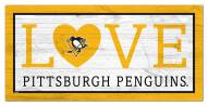 """Pittsburgh Penguins 6"""" x 12"""" Love Sign"""