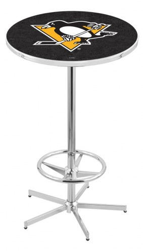 Pittsburgh Penguins Chrome Bar Table with Foot Ring