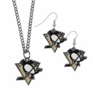 Pittsburgh Penguins Dangle Earrings & Chain Necklace Set