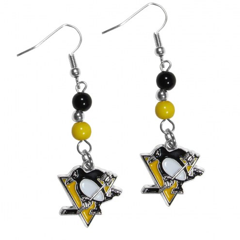 Pittsburgh Penguins Fan Bead Dangle Earrings