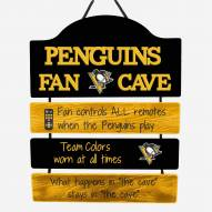 Pittsburgh Penguins Man Cave Fan Zone Wood Sign