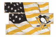 Pittsburgh Penguins Flag 3 Plank Sign