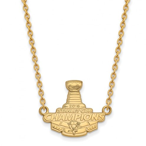 Pittsburgh Penguins Sterling Silver Gold Plated Large Pendant with Necklace