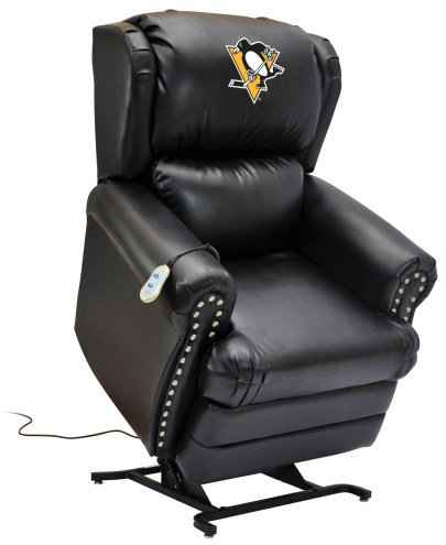 Pittsburgh Penguins Leather Coach Lift Recliner