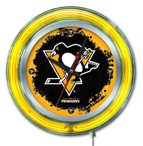 Pittsburgh Penguins Neon Clock