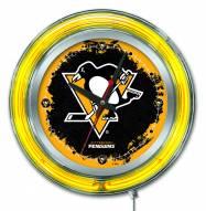 Pittsburgh Penguins Neon Clock