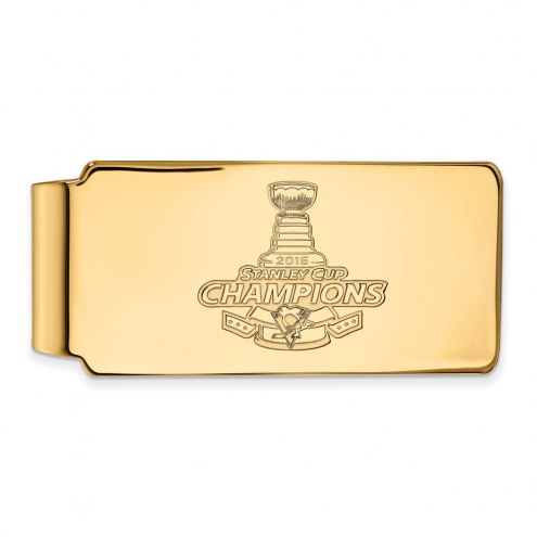 Pittsburgh Penguins NHL Sterling Silver Gold Plated Money Clip