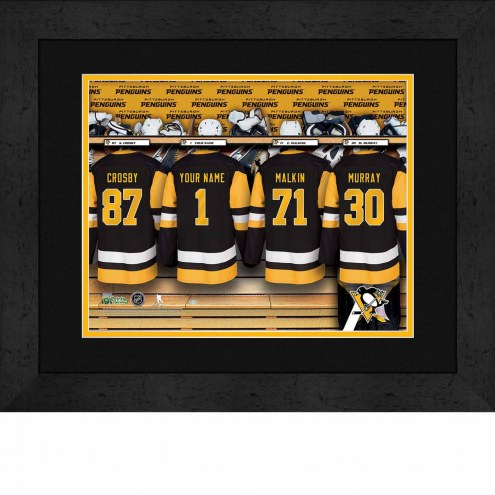 Pittsburgh Penguins Personalized Locker Room 13 x 16 Framed Photograph