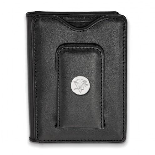 Pittsburgh Penguins Sterling Silver Black Leather Wallet