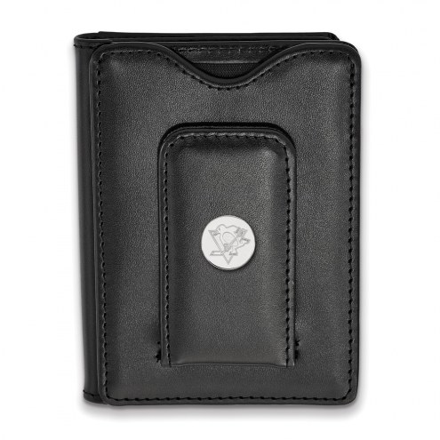 Pittsburgh Penguins Sterling Silver Black Leather Wallet