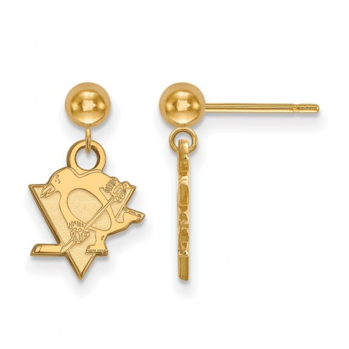 Pittsburgh Penguins Sterling Silver Gold Plated Dangle Ball Earrings