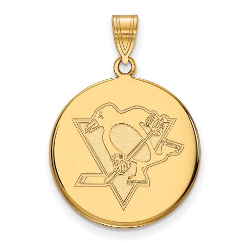 Pittsburgh Penguins Sterling Silver Gold Plated Large Disc Pendant