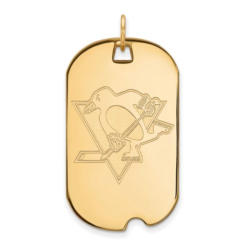Pittsburgh Penguins Sterling Silver Gold Plated Large Dog Tag