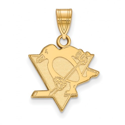 Pittsburgh Penguins Sterling Silver Gold Plated Medium Pendant