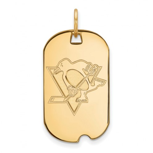Pittsburgh Penguins Sterling Silver Gold Plated Small Dog Tag