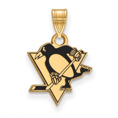 Pittsburgh Penguins Sterling Silver Gold Plated Small Enameled Pendant