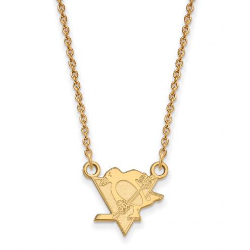 Pittsburgh Penguins Sterling Silver Gold Plated Small Pendant Necklace