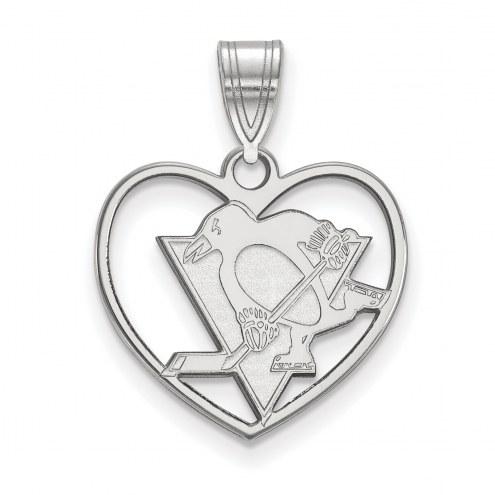 Pittsburgh Penguins Sterling Silver Heart Pendant