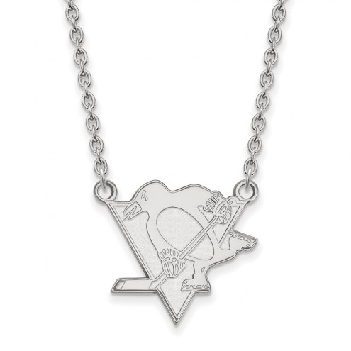 Pittsburgh Penguins Sterling Silver Large Pendant Necklace