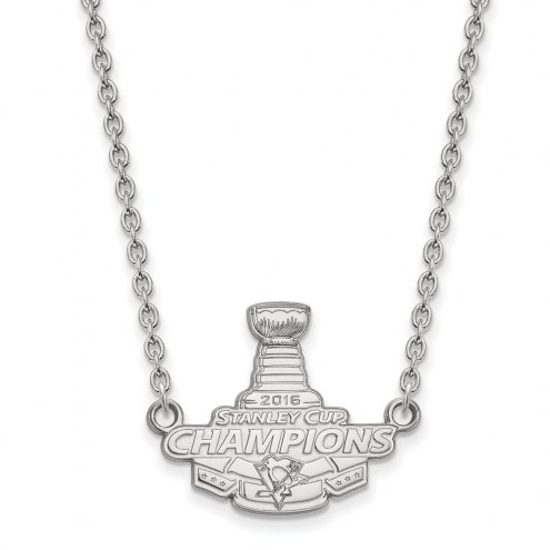 Pittsburgh Penguins Sterling Silver Large Pendant with Necklace