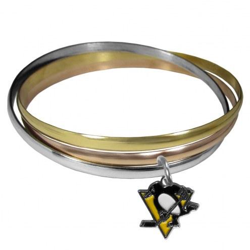 Pittsburgh Penguins Tri-color Bangle Bracelet
