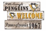 Pittsburgh Penguins Welcome 3 Plank Sign