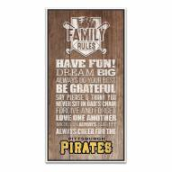 Pittsburgh Pirates Family Rules Icon Wood Framed Printed Canvas