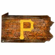 Pittsburgh Pirates Distressed State with Logo Sign