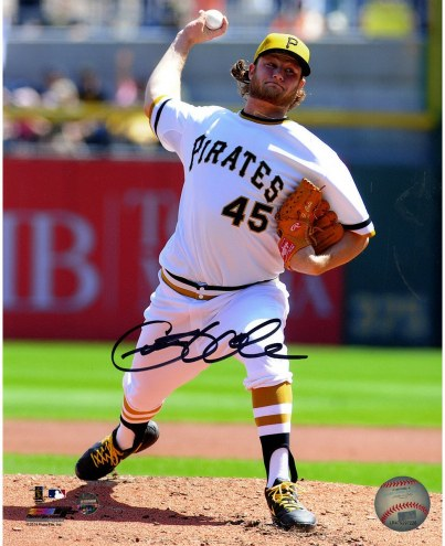 Pittsburgh Pirates Gerrit Cole Signed in White Uniform Pitching 8 x 10 Photo
