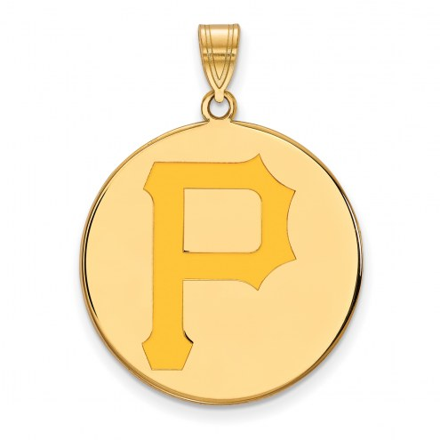 Pittsburgh Pirates Sterling Silver Gold Plated Extra Large Enameled Disc Pendant