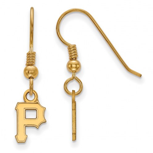 Pittsburgh Pirates Sterling Silver Gold Plated Extra Small Dangle Earrings