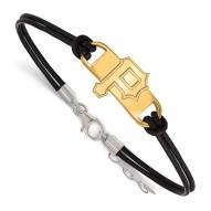 Pittsburgh Pirates Gold Plated Sterling Silver Leather Bracelet