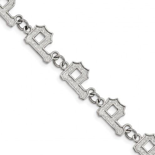 Pittsburgh Pirates Stainless Steel Logo Bracelet