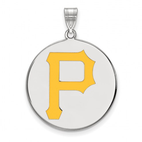 Pittsburgh Pirates Sterling Silver Extra Large Enameled Disc Pendant