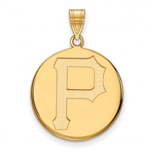 Pittsburgh Pirates Sterling Silver Gold Plated Large Disc Pendant
