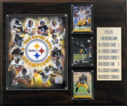 """Pittsburgh Steelers 12"""" x 15"""" Super Bowl Champions Plaque"""