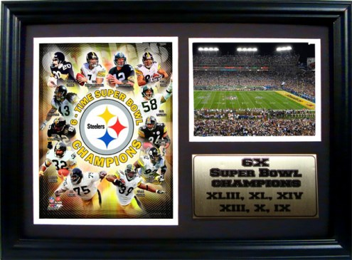 """Pittsburgh Steelers 12"""" x 18"""" Champions Photo Stat Frame"""