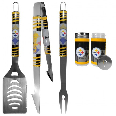 Pittsburgh Steelers 3 Piece Tailgater BBQ Set and Salt and Pepper Shaker Set