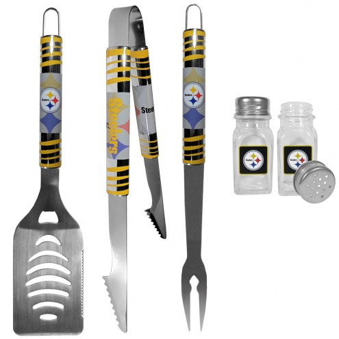 Pittsburgh Steelers 3 Piece Tailgater BBQ Set and Salt and Pepper Shakers
