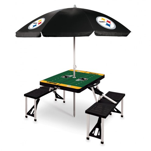 Pittsburgh Steelers Black Picnic Table w/Umbrella