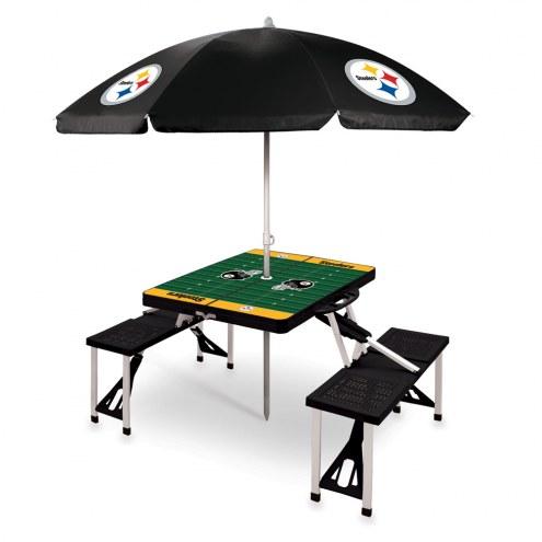 Pittsburgh Steelers Black Picnic Table w/Umbrella