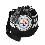 Pittsburgh Steelers Black Ripple Drawstring Bucket Bag