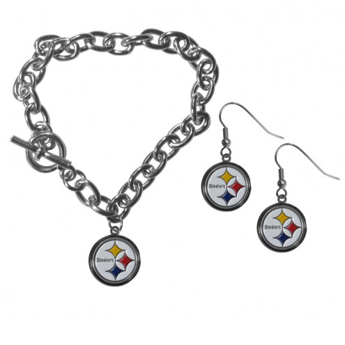 Pittsburgh Steelers Chain Bracelet & Dangle Earring Set