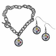 Pittsburgh Steelers Chain Bracelet & Dangle Earring Set