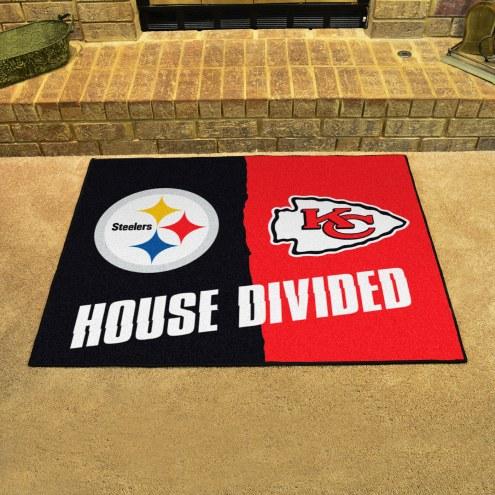 Pittsburgh Steelers/Kansas City Chiefs House Divided Mat