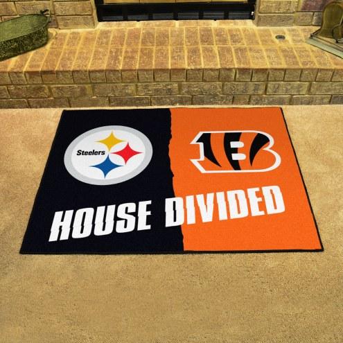 Pittsburgh Steelers/Cincinnati Bengals House Divided Mat