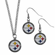 Pittsburgh Steelers Dangle Earrings & Chain Necklace Set